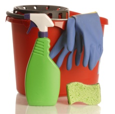 household cleaner with rubber gloves bucket and sponge. Image From Microsoft Clip Art