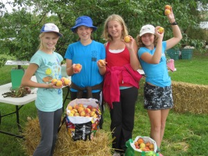 Emily, Abigail, Josie and Georgia showing off the peaches we picked