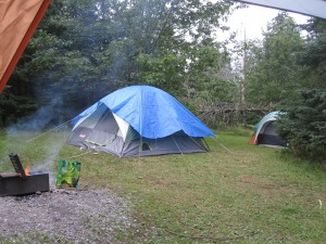The campsite, with tarps (the main tent is the girls tent, the leader tent is nicely hidden behind the tree)