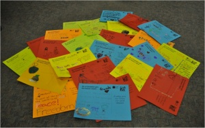 Postcards created by Girl Guides on October 11, 2012.