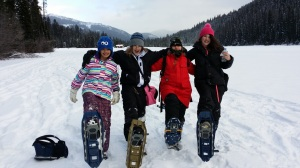 girls snowshoeing