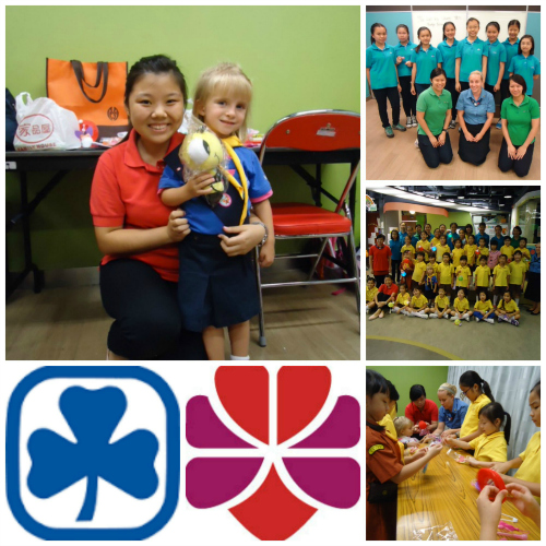 Canadian Guider Amanda Benny and her daughter visit with Hong Kong Girl Guides.