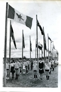 Flag raising ceremony at the 1977 International Camp in Cape Breton, Nova Scotia.  (APH 1271)