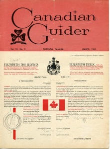 The cover of the March 1965 issue of Canadian Guider introduced the new Canadian flag.  Members were given tips on displaying the flag, marching and hoisting the new Canadian flag, as well as ideas for respectfully retiring the existing Union Jack.